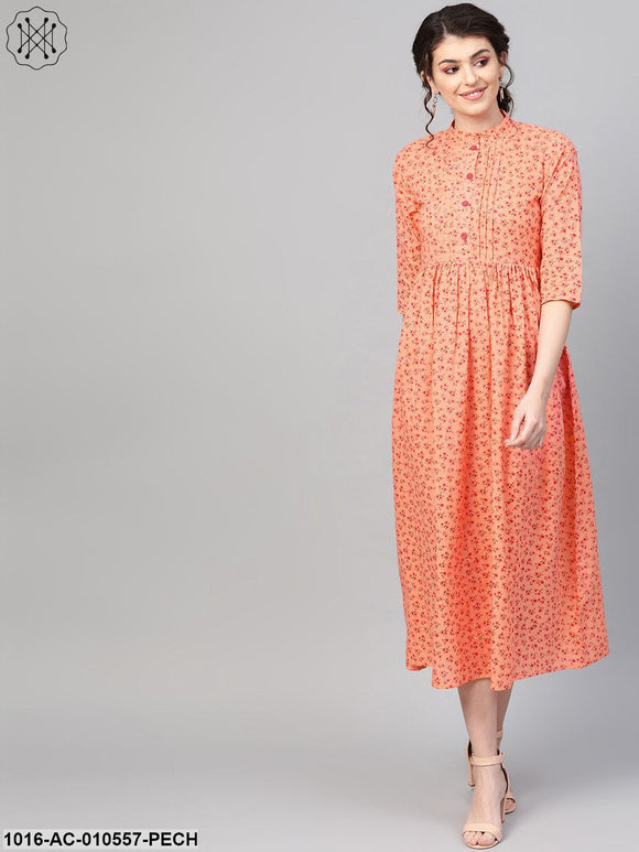 Women Peach &  Floral Printed Maxi Dress