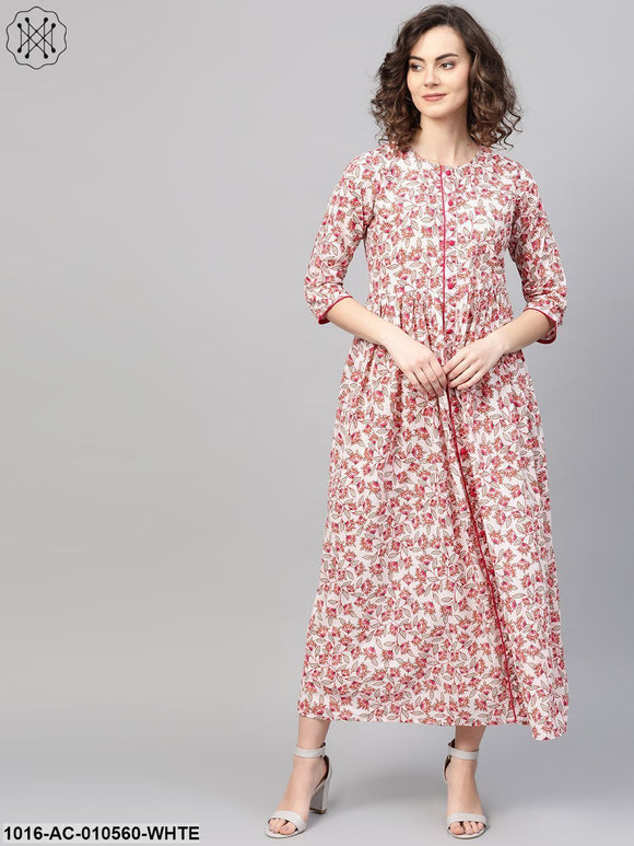 Women White & Pink Floral Printed Maxi Dress
