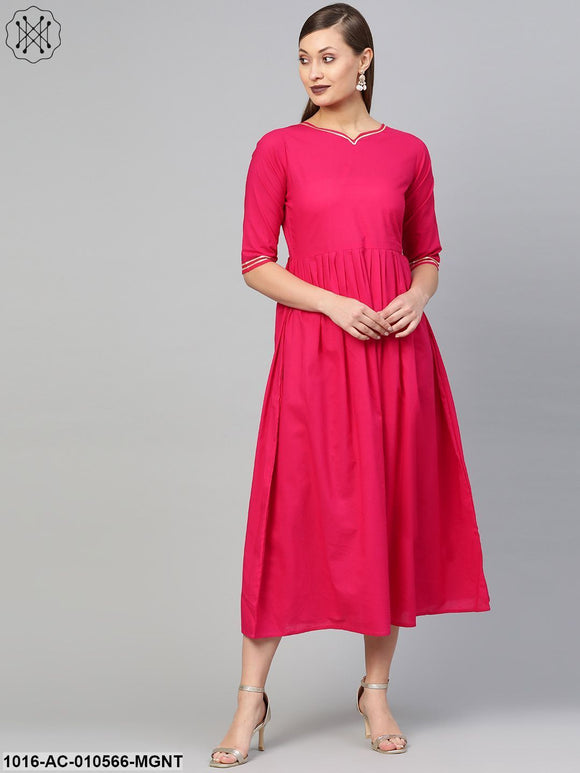Women Magenta Solid Maxi Dress