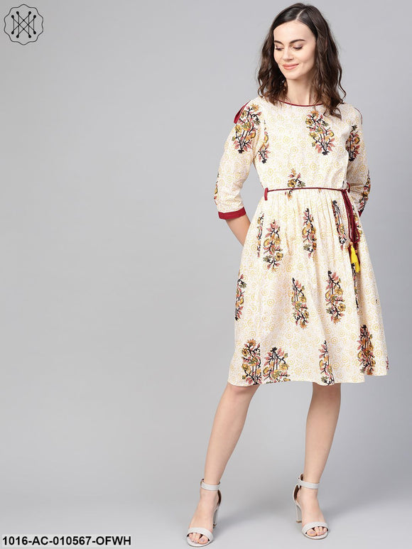 Women Off White & Yellow Floral Printed A-Line Dress
