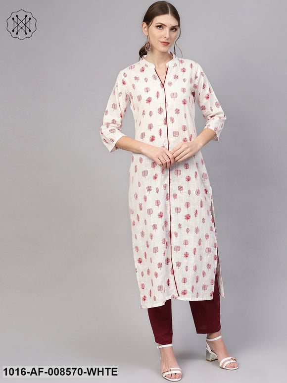 White Printed Madarin Collered Kurta With Solid Maroon Pants