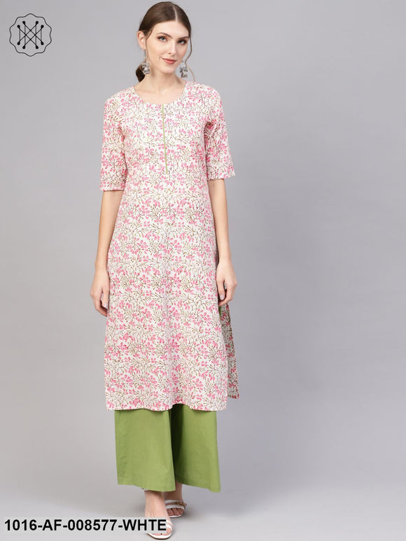 White & Pink Floral Printed Straight Kurta With Green Palazzo