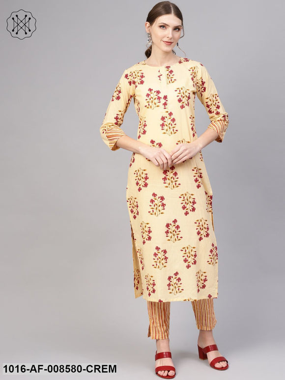 Cream & Pink Printed Straight Kurta With Striped Pants