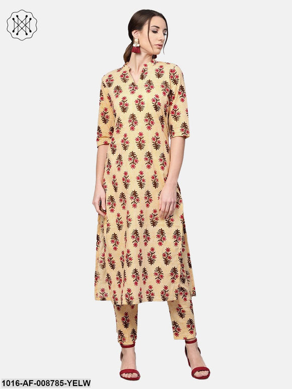 Yellow striped Multi colored Printed Kurta set with Pants