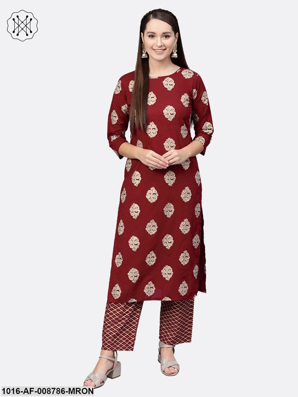 Maroon & cream Gold printed Kurta set with pants