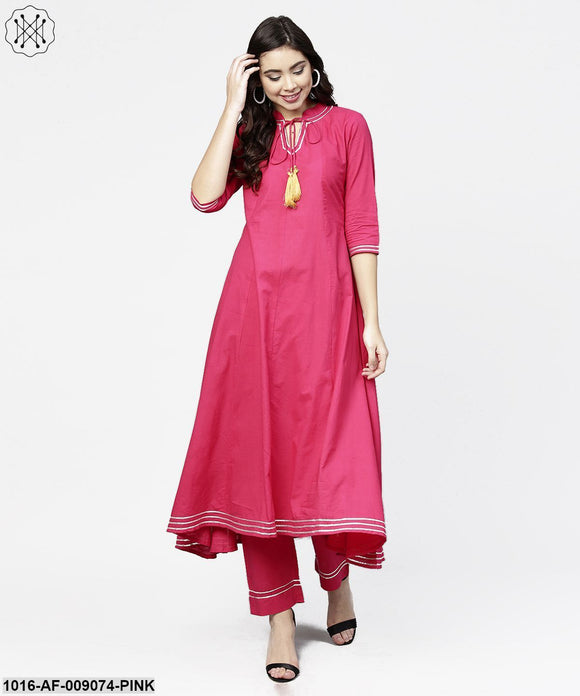 Pink 3/4Th Sleeve Cotton A-Line Kurta With Pink Palazzo