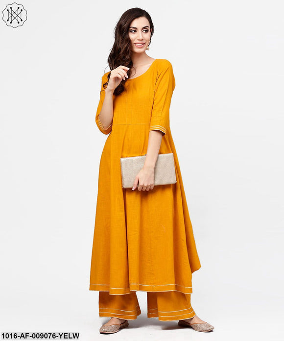 Yellow 3/4Th Sleeve Cotton Anarkali Kurta With Ankle Length Flared Pallazo With Gotta Work
