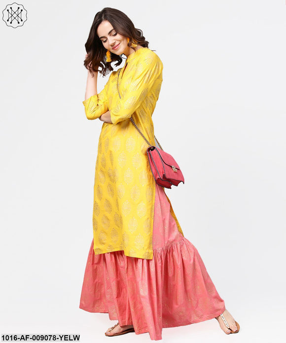 Yellow Golden Printed 3/4Th Sleeve Kurta With Pink Ankle Length Sharara