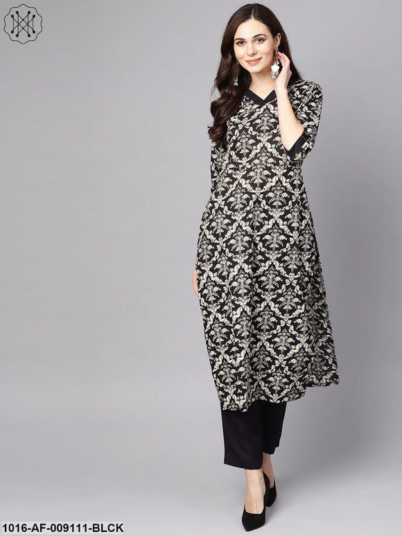 Black & White Floral Printed Kurta Set With Pants