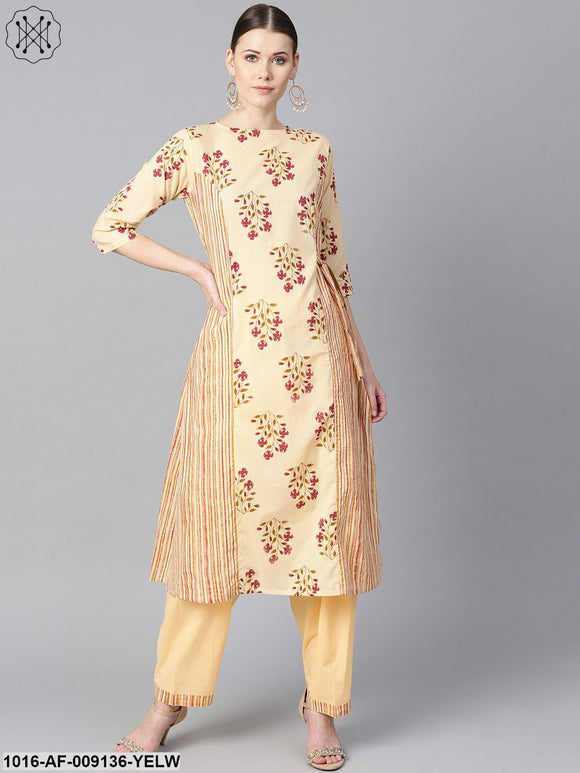 Floral Printed Kurta With Striped Panels With Solid Light Beige Salwar