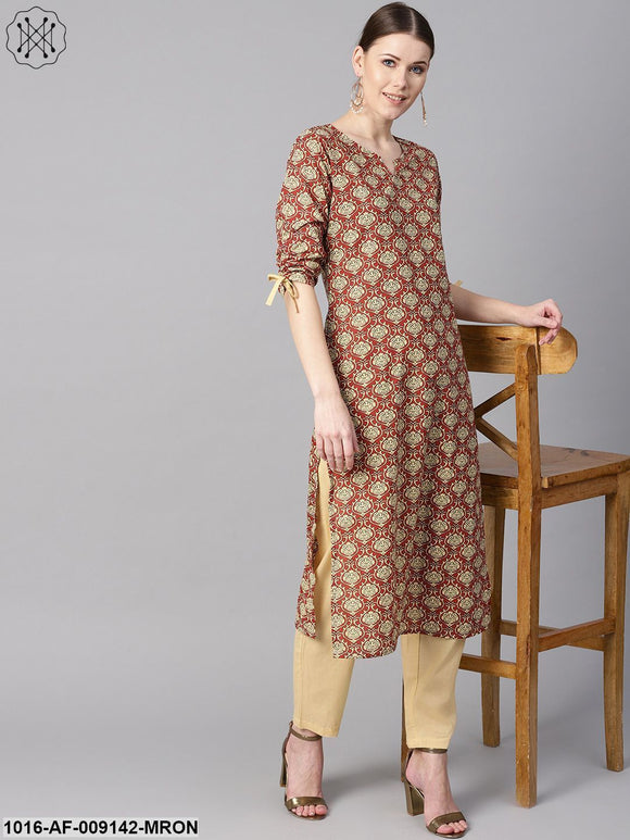 Maroon Floral Printed Kurta With Draw String Detailed Sleeves And Pale Yellow Pants
