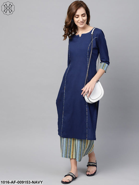 Navy Blue Kurta Set With Cream Multi Colored Culottes