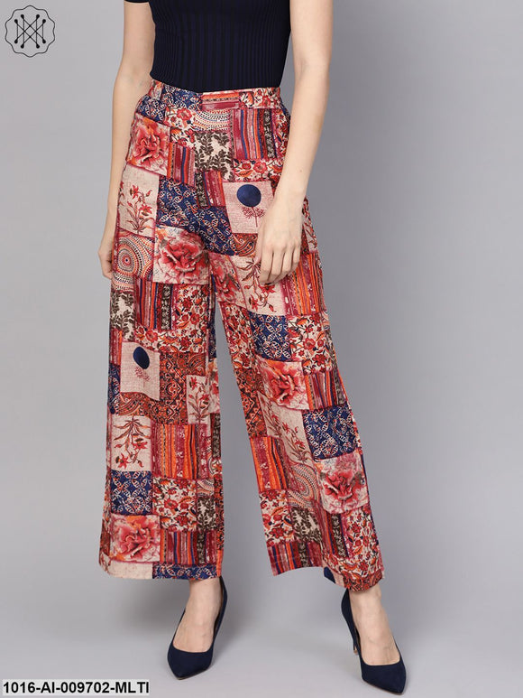 Multi Colored Cotton Ankle Length Palazzo
