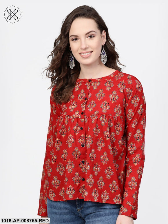 Red & Beige Printed Top with Round neck & full sleeves