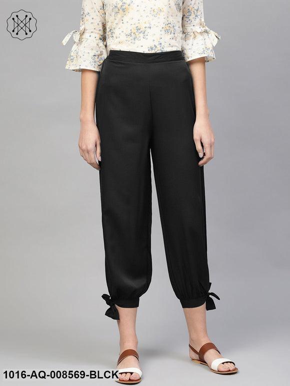 Black Ankle Length Crepe Trouser