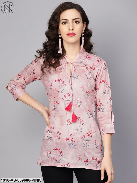 Baby Pink Printed 3/4Th Sleeve Cotton Tunic