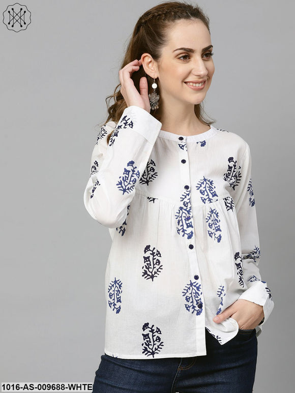 White Navy Blue Printed Tunic With Mandarin Collar & Full Sleeves