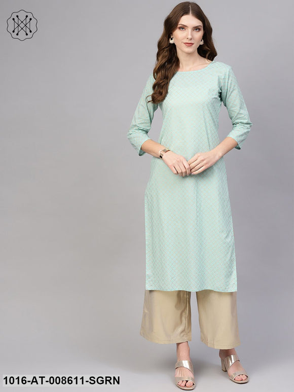 Sea Green Checked Straight  Kurta With Mandarin Collar & 3/4 Sleeves