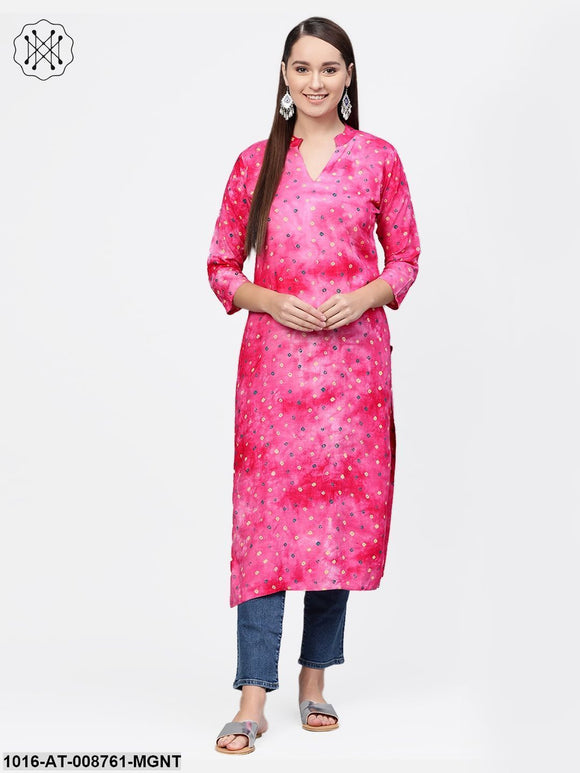 Magenta Bandhini Kurta with Mandarin collar with 3/4 sleeves