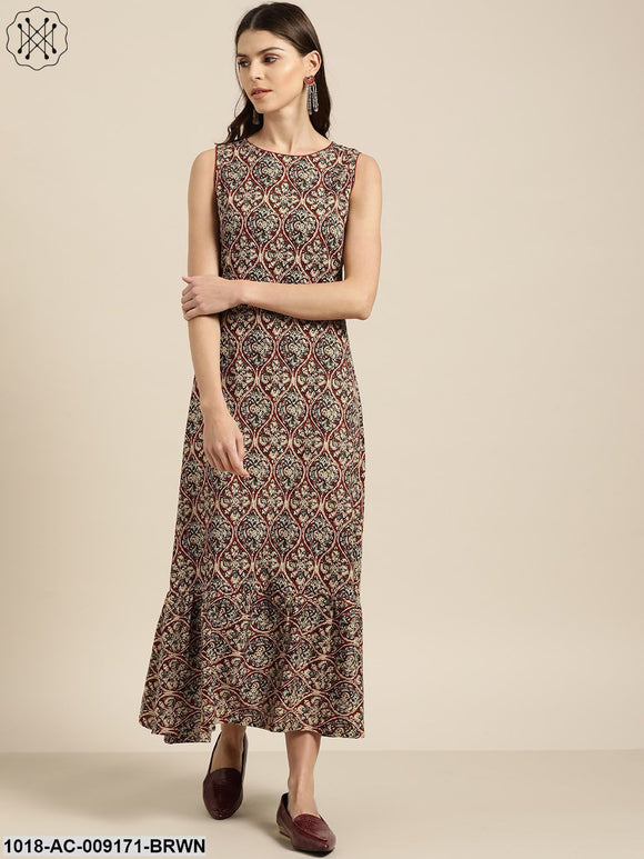 Brown Tiered Hem Sleeveless Midi Dress
