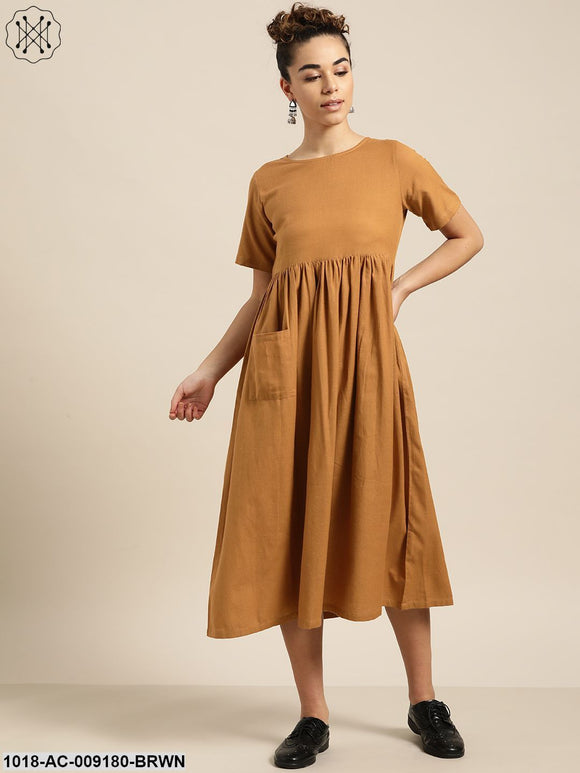 Chocolate Brown Gathered Patch Pocket Midi Dress