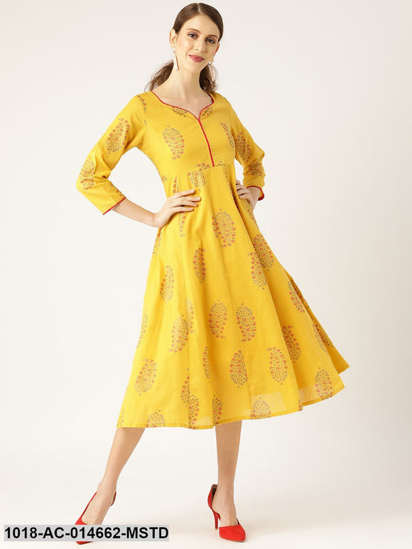 Mustard Foil Print Sweetheart Neck Dress