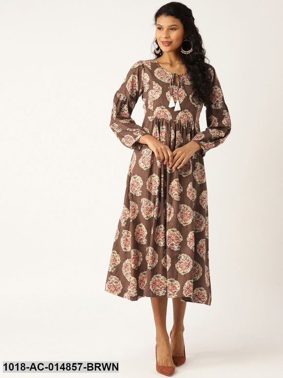 Brown Paisley Bishop Sleeve Midi Dress