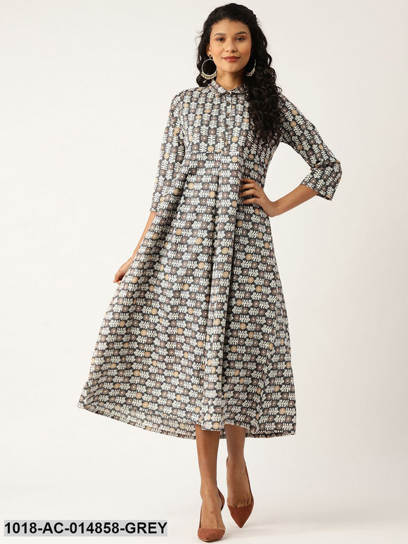 Grey Floral Inverted Box Pleat Gathered Dress