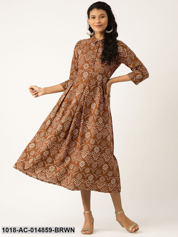 Brown Floral Inverted Box Pleat Gathered Dress