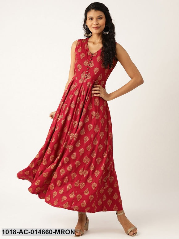 Maroon Foil Print Sleeveless Flared Maxi