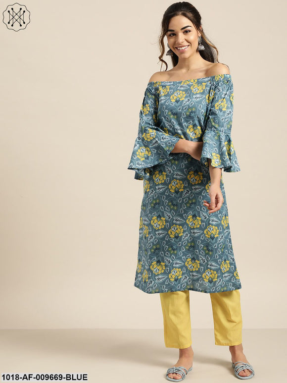 Blue Off Shoulder Kurta With Yellow Pants