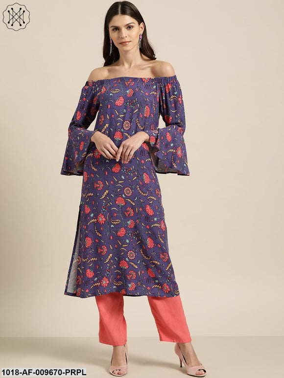 Purple Floral Off Shoulder Kurta With Red Pants