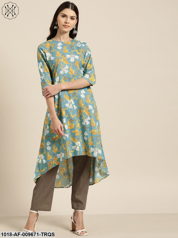 Turquoise Floral High Low Kurta With Brown Pants