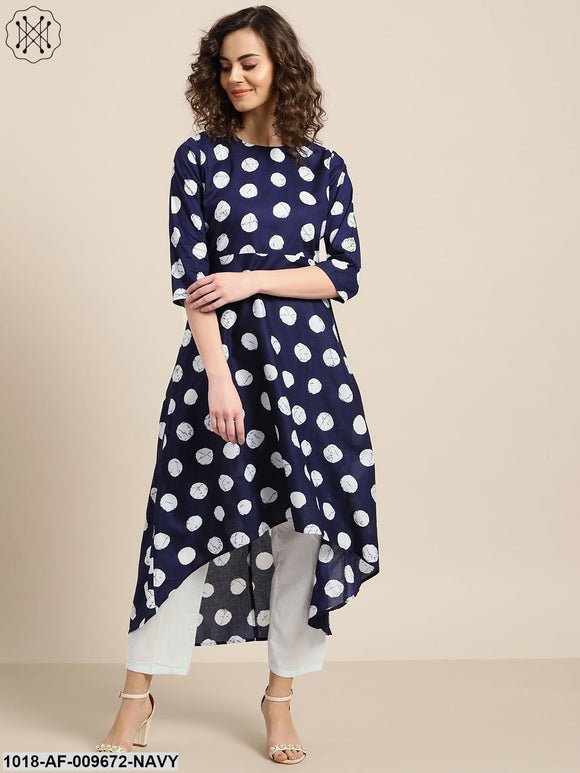 Navy Polka High Low Kurta With White Pants
