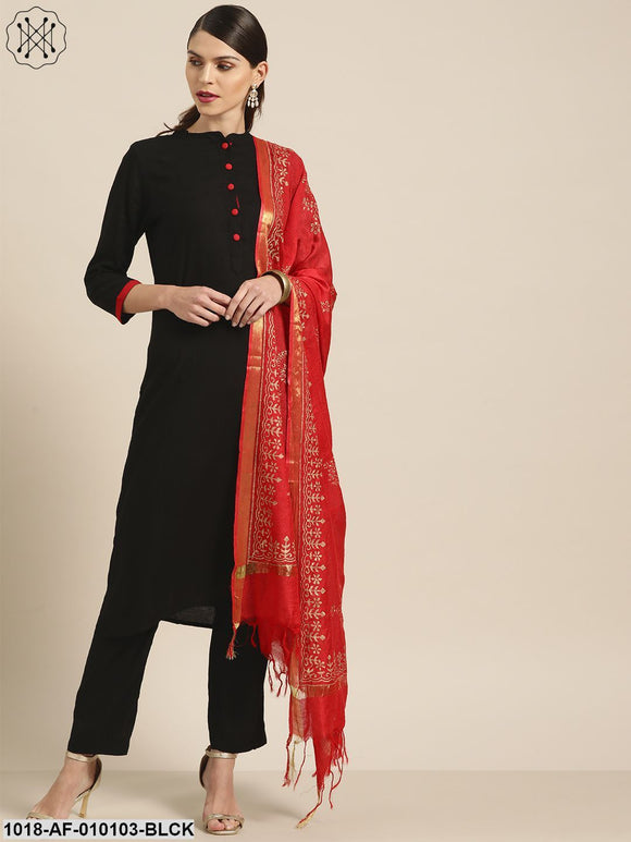 Black Kurta With Pants And Red Foil Dupatta