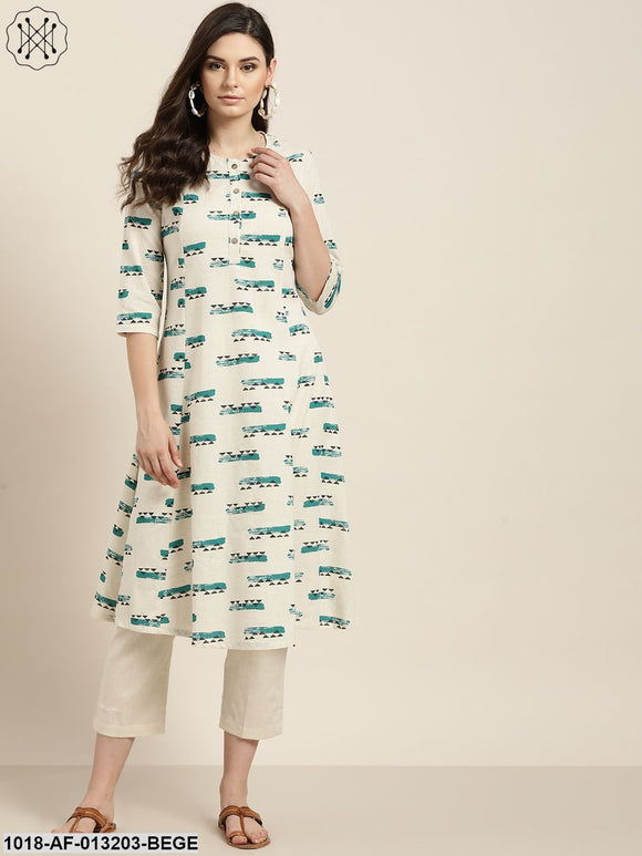 Off White Geo A-Line Kurta With Off White Pants
