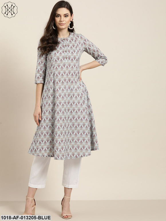 Blue Floral A-Line Kurta With White Pants