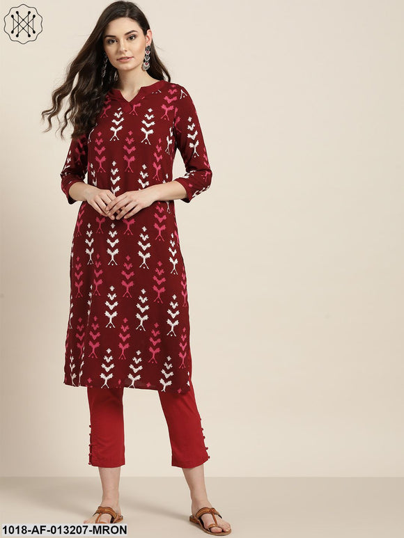 Maroon Ikat Kurta With Maroon Pencil Pants