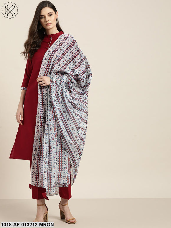 Maroon Kurta With Pants And Blue Printed Dupatta