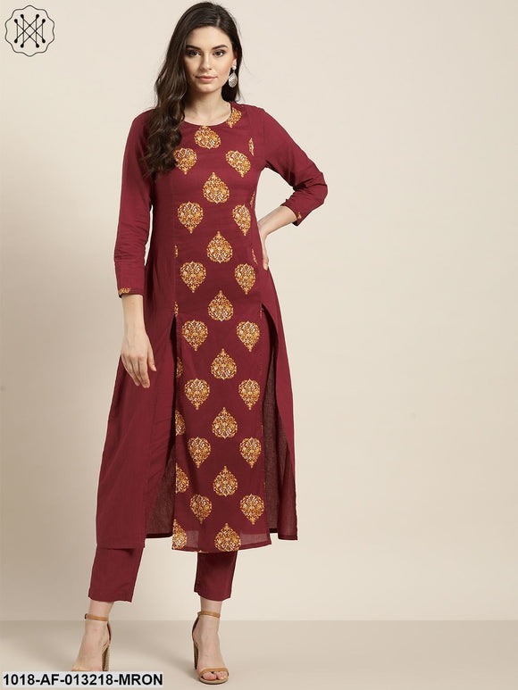 Mustard Booti Slit Kurta With Maroon Pencil Pants