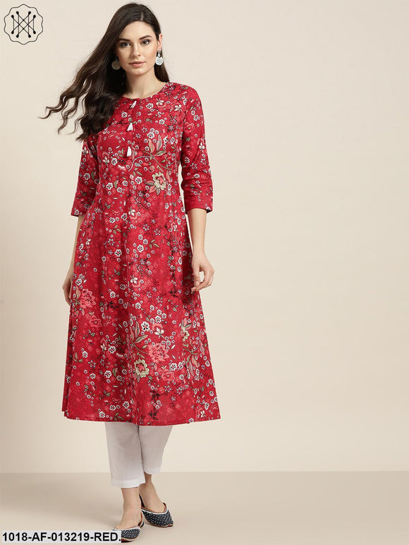 Red Floral A-Line Kurta With White Straight Pants