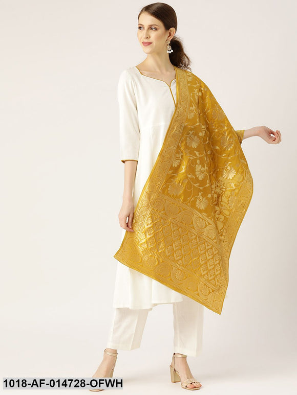 Off White Anarkali with Pants & Golden Brocade Dupatta