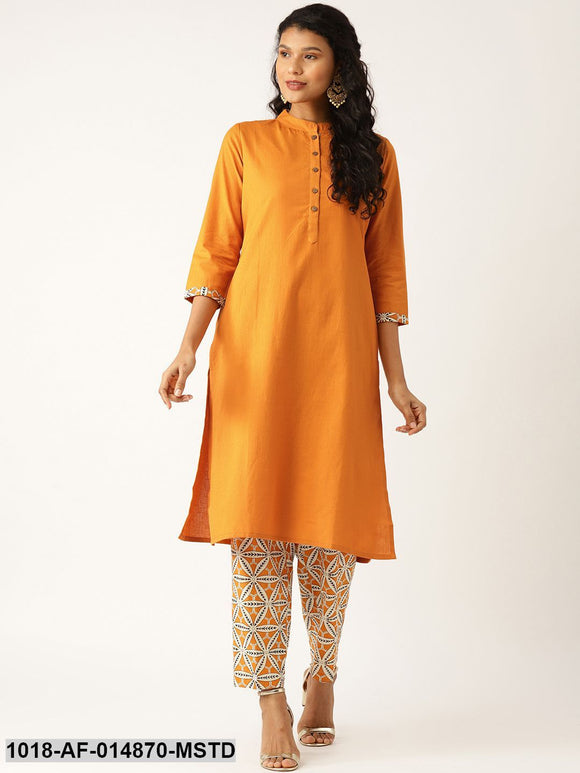 Mustard Floral Straight Kurta with Pants