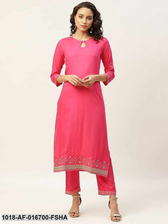 Fuchsia Hem Zari Embroidery Kurta with Pants