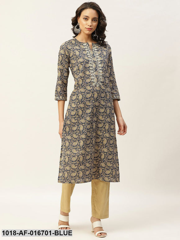 Blue Paisely Zari Embroidery Kurta With Straight Pants