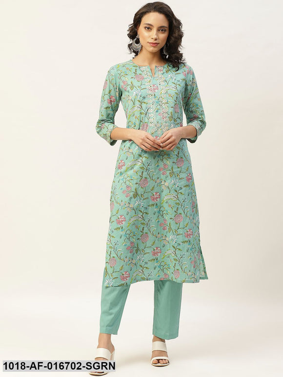 Sea Green Floral Zari Embroidery Kurta With Straight Pants