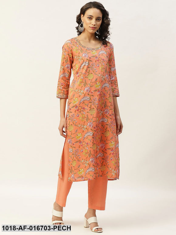 Peach Floral Zari Embroidery Kurta With Straight Pants