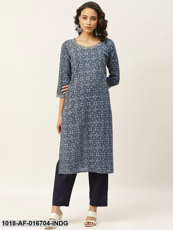 Indigo Floral Zari Embroidery Kurta With Straight Pants