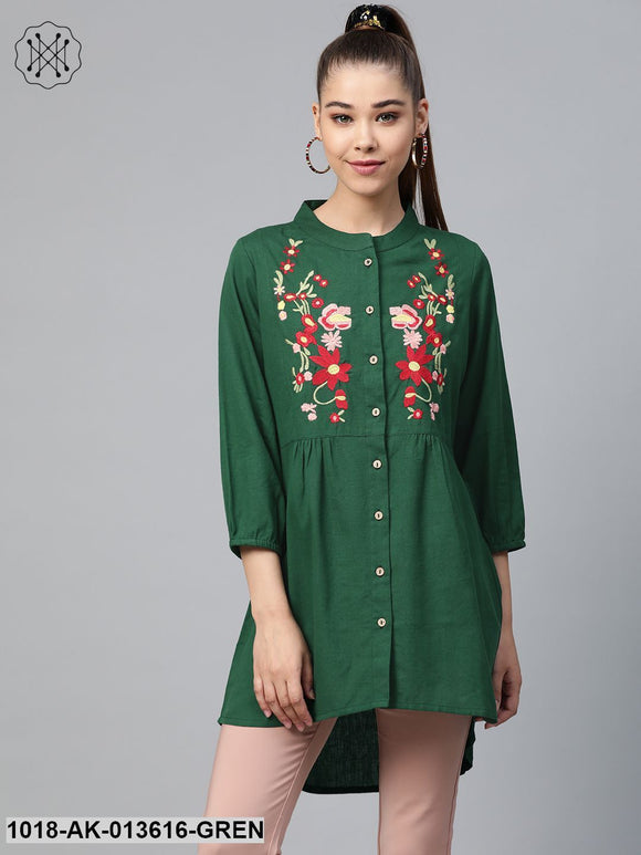 Green Front Embroidery Shirt