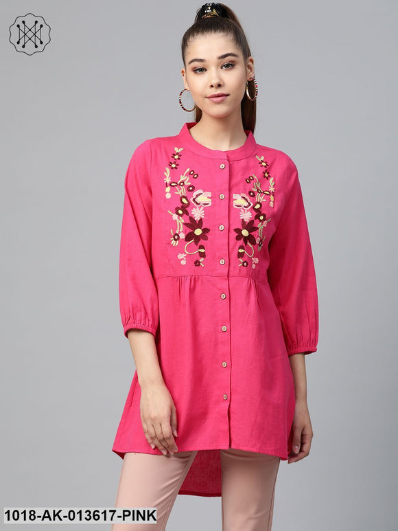 Pink Front Embroidery Shirt